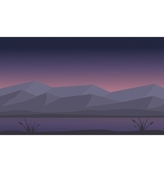 Silhouette of mountain and river at night vector