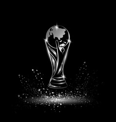 silver soccer trophy with globe vector image