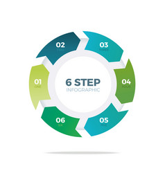 Six step circle infographic vector