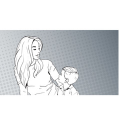 Sketched woman embrace child mother with son over vector
