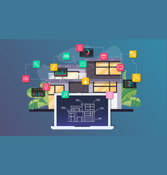 smart home automation and internet of things vector image