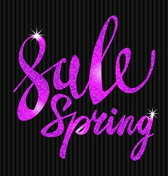 Spring Sale purple pink violet inscription paint vector image