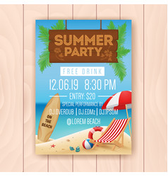 summer party advertising poster design vector image