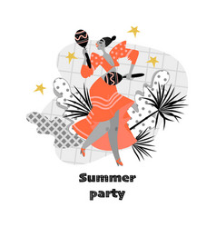 Summer party banner with funny dancing girl vector