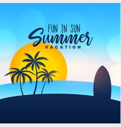 summer vacation poster design background vector image