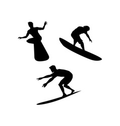 Surfers Silhouettes vector image