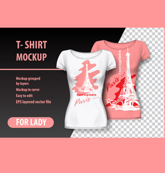 T-shirt mockup with paris tower and funny phrase vector