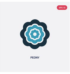 Two color peony icon from nature concept isolated vector