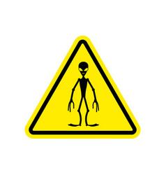 ufo warning sign yellow alien hazard attention vector image