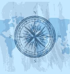 vintage wind rose on background of world map vector image