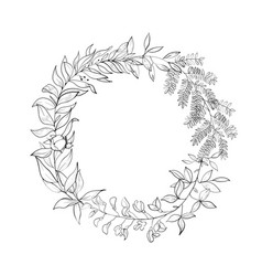 Vintage wreath of leaves vector