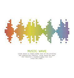 Wave music logo with shadow on white vector