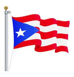 Waving puerto rico flag isolated on a white vector