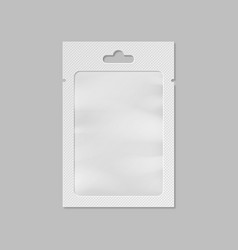 White pocket bag with transparent window and hang vector