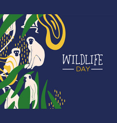 Wildlife day jungle card with monkeys vector