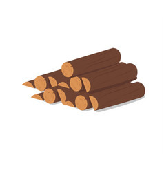 Wooden logs brown bark of felled dry wood vector