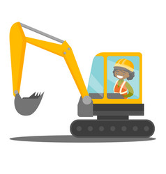 Young african builder driving an excavator vector