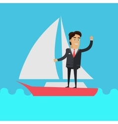 Young businessman on sailing yacht vector