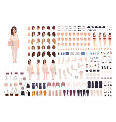 Young fashionable woman creation kit or diy set vector