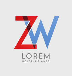 zw logo letters with blue and red gradation vector image