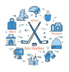 blue winter ice hockey concept vector image vector image