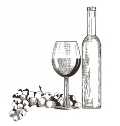 Bottle and Glass of Red wine with grapes isolated vector image