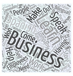 Business people learn spanish for work word cloud vector