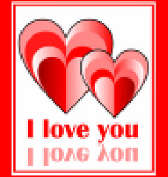 grunge pixel image of two hearts with inscription vector image