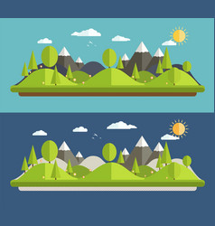natural landscapes in a flat style vector image