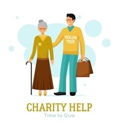Volunteers Charity Help Organization Flat Poster vector image vector image