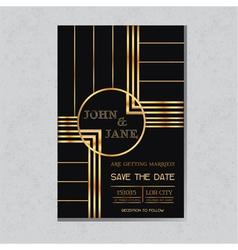 Wedding invitation card in art deco design vector