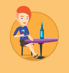 woman drinking wine at restaurant vector image