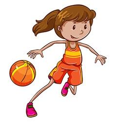 A female basketball player vector