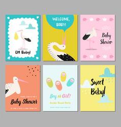baby shower cards set newborn child invitation vector image
