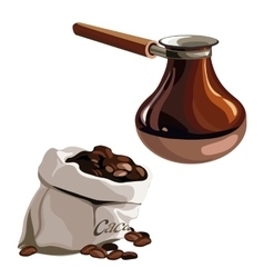 Bag with coffee beans and brown Turk vector image