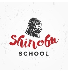 Japanese ninja school logo shinobu warrior vector