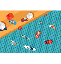 people relax on the beach and swimming in the sea vector image