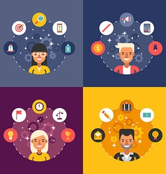 Set of in Flat Design Style Business Icons and vector image