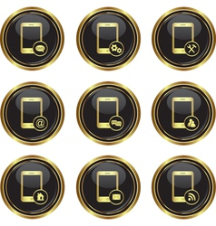 Set of phone icons with different menu vector image vector image