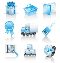 shopping icons vector image vector image
