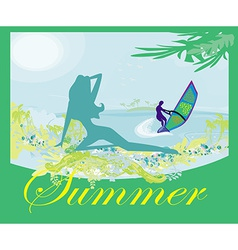 surfer and sexy girl - abstract banner vector image