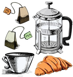 Tea time colorful objects collection vector image vector image
