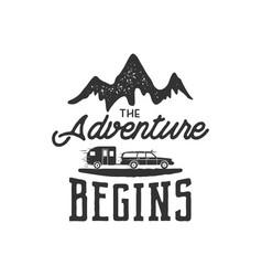 vintage adventure hand drawn label design the vector image vector image