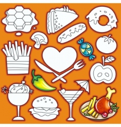 doodle food elements vector image vector image