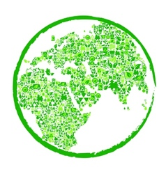 Green earth with ecological elements vector image