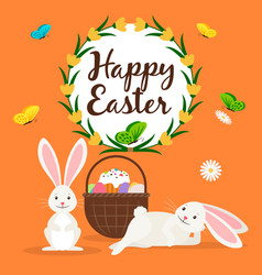 happy easter rabbits and basket card vector image vector image