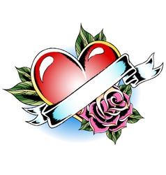 heart rose ribbon emblem vector image vector image
