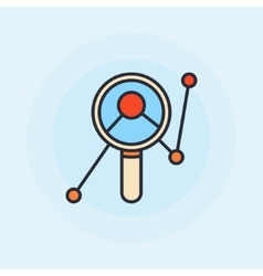 Magnifying glass with graph symbol vector image vector image
