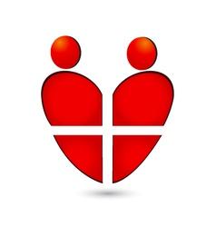 Medical heart teamwork logo vector image vector image