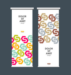 roll up banner stand with hexagon pattern vector image